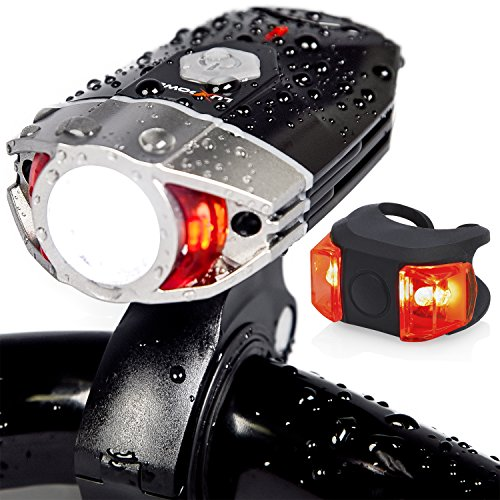 LuxPower Bike Light Set Rechargeable Galaxy 400 Lumens LED Bicycle Head and Tail Lights, 6-Hour Runtime, Brightest Water Resistant Front and Rear Safety Lamps - Great Cycling and Biking Gift ()