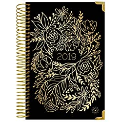 """bloom daily planners 2019 HARDCOVER Calendar Year Day Planner - Passion/Goal Organizer - Monthly and Weekly Dated Agenda Book - (January 2019 - December 2019) - 6"""" x 8.25"""" - Gold Embroidery"""