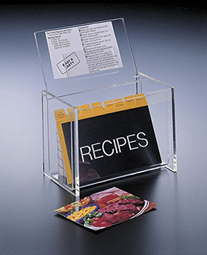(Acrylic Lucite Recipe Box Holder with Lid display Box and Recipe Cards 5 x 3 by Huang Acrylic)