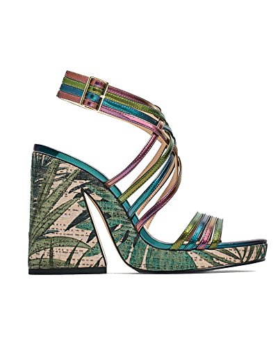 Zara Donna Sandalo tacco plateau multicolore 5450/201 (37 EU | 6.5 US | 4 UK)