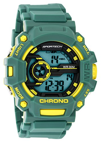 Children's Watches by Sportech - Green and Yellow Water Resistant Digital Watch - Make Every Second Count - SP12207