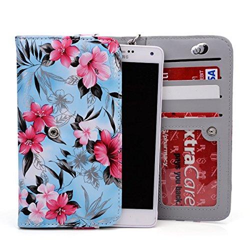 HTC Desire 816, 820, 820 Dual, EYE PU Leather Case Wallet Flowers w/Carry Strap, ID Slot [BLUE HAWAII] NuVur ™