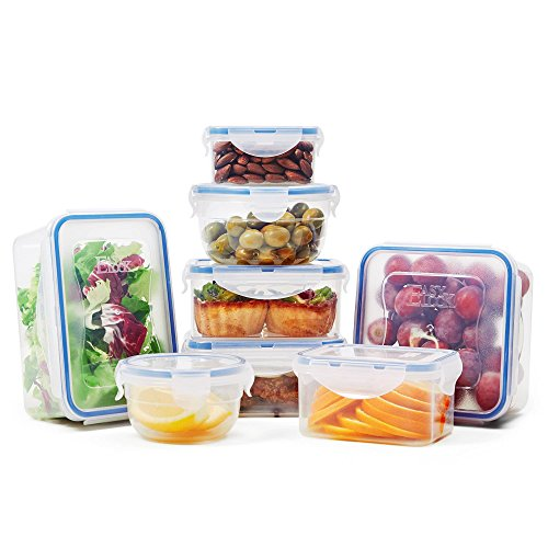 BPA Free Food Storage Containers with Lids - Clear Plastic Containers for Food Storage - 100% Airtight & Leak Proof (16 Piece Set)