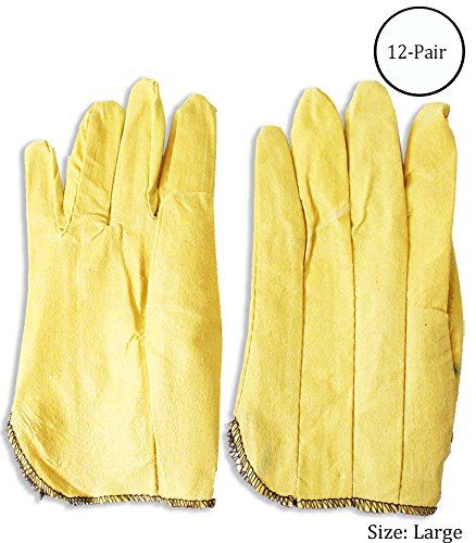 Large Size Yellow Vinyl Impregnated Gardening Gloves : ( Pack of 12 Pairs ) (Impregnated Work Glove)