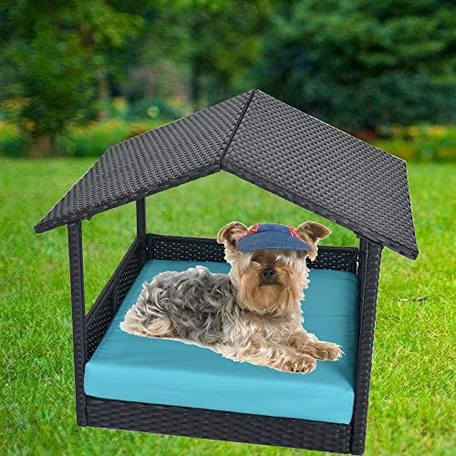 LEAPTIME Patio Furniture PE Rattan Pet Home Outdoor Patio Dog House Day Bed w/Roof Black Wicker Bed with Cushion-Turquoise