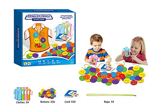 (Pack of 4) Clothes Button Board Game - Sewing on Buttons, Color Matching with Cards, Lacing Beads Board Toys, Sewing Play Kit Educational Toy for Toddlers and Preschoolers Fine Motor Skills Toy