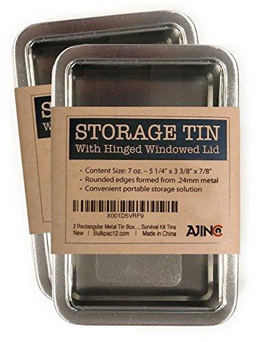 2 Rectangular Metal Storage Tin Box with Windowed Hinged Lid - Silver Blank Survival Kit Storage Case, 5.5