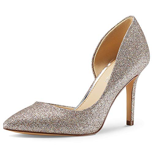 (JENN ARDOR Stiletto High Heel Pointed Closed Toe Slip On Dress Party Wedding Evening Pumps Shoes for Women Rose 6.5 M US)
