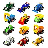 Mini Pull Back Cars 12 Pack Assorted Trucks and Raced Vehicles Car Toy Play Set for kids with 12 pieces(Color Vary)