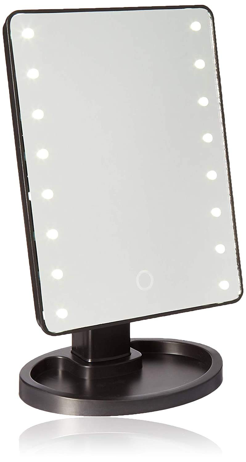 Ideaworks-Light-Up Mirror-Large Mirror with 16 LED Lights for Make-Up, Tweezing, & Other Facial Applications-Rotating Mirror-Magnifier Option-Built-in Tray-Battery Powered