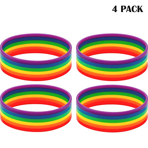 (Boao 4 Pieces Rubber Rainbow Wristband Silicone Rubber Bracelets, Outdoor Sporting Accessories Costume Matching and Decoration Sports Teams Games Kids Play Party Favors)