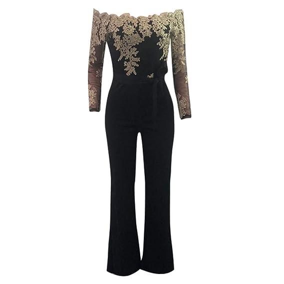 AMUSTER Jumpsuit da Donna Casual Pizzo Elegante di Alta qualità Elegante  Abito da Sera Senza Spalline 0fde85a6da7