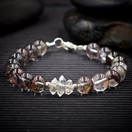 - Phantom Quartz and Herkimer Diamond Bracelet - Most powerful healing and energy amplifier