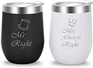 Mr Right&Mrs Always Right | Stainless Steel 12 oz Wine Tumbler with Lid | Gifts for Couples and Newlyweds(Black&White)