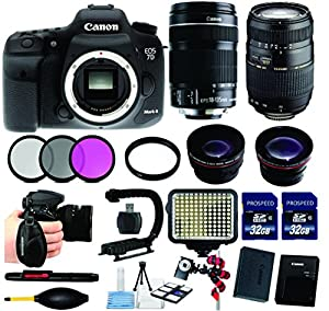 Canon EOS Rebel 7D Mark II DSLR with Canon 18-135 IS STM Lens + Tamron Auto Focus 70-300mm Macro Zoom Lens + Wideangle .43x + 2.2 Telephoto Lens + LED Light + 3Pc Filter Kit + UV Filter + Cleaning Kit