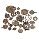 TOOGOO(R) 20pcs Vintage Metal Zinc Alloy Mixed Clock Pendant Charms Steampunk Clock Charms for Diy Jewelry Making bronze Review