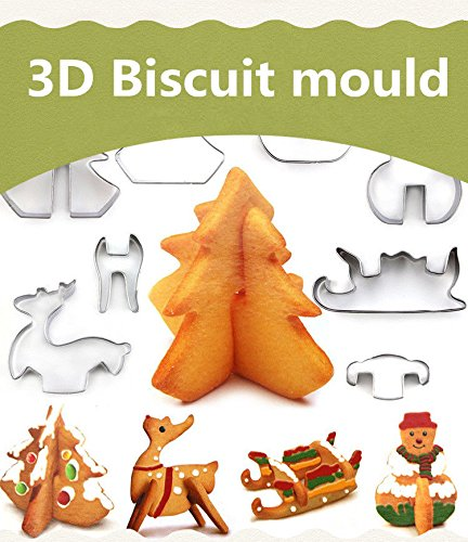 Christmas Cake Cookie Cutters Set 3D Biscuit Tool Baking Molds Scenario Favorite Holiday Shapes Stainless Steel including Snowman, Chritmas tree, Christmas elk and Sledge - 8pcs