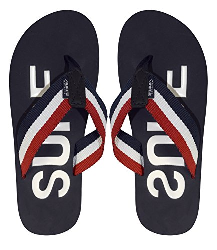 (Peach Couture Nautical Summer Men's Beach Summer Flip-Flops Sandals Slippers Red Navy 12)