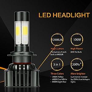 Zdatt 12000LM Super Bright 100W H7 LED Headlight Bulbs Conversion Kits 360 Degree High/Low Dual Beam Light for Car Lamp Replacement-Amber(3000K) /White(6000K) /Light-Blue(8000K)