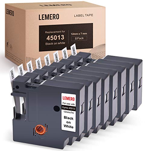 (LEMERO 8 Pack Compatible with DYMO 45013 S0720530 D1 Tape Black on White 1/2 inch Label Tape for DYMO LabelManager 160 280 210D Rhino 4200 5200 PC Rhino 6000 1/2 Inch x 23 Feet)