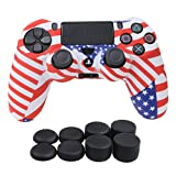 Cheap YoRHa Water Transfer Printing Camouflage Silicone Cover Skin Case for Sony PS4/slim/Pro controller x 1(US flag) With Pro thumb grips x 8