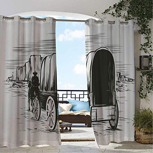 Linhomedecor Outdoor Waterproof Curtain Western Old Traditional Wagon Wild West Prairies Pioneer on Horse Transportation Cart Black and White pergola Grommet Panel Curtain 108 by 108 inch