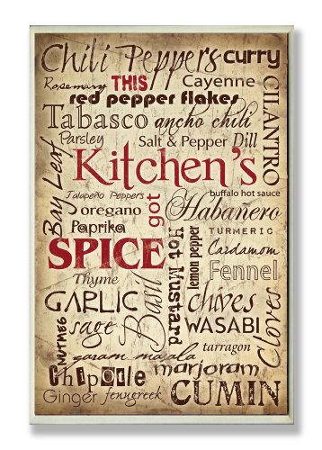 Stupell Home Décor Kitchen Spice Typography Wall Plaque, 10 x 0.5 x 15, Proudly Made in USA by The Stupell Home Decor Collection