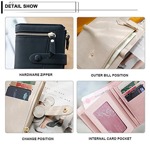 Leather Small Women's Card Zip Coin Purse Soft Blue Badiya Short Bifold Simple Holder Wallet vYYRdwq