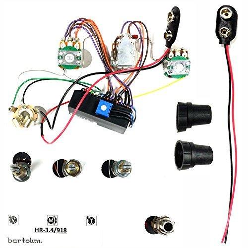 Bass Preamp Bartolini - Bartolini HR3.4/918 Pre-wired Active Preamp Harness 9V/18V Three Band EQ