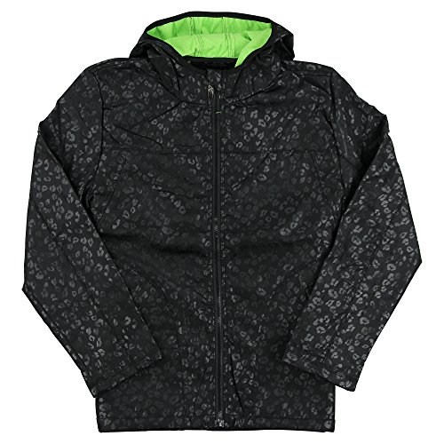 i5 Women's Animal Print Full Zip Rain Jacket (Black/Green, - Animal Print Zip Jacket