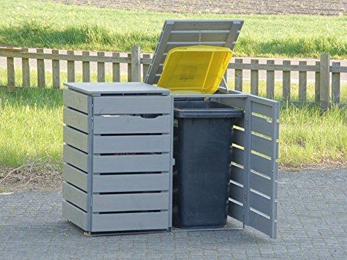 2er Mülltonnenbox / Mülltonnenverkleidung 120 L Holz, Transparent Geölt Grau