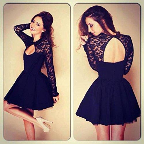 mujer de de noche Negro Mini Vestido larga de Vestido manga mujer sin vestido de espalda fiesta Manadlian Vestido RxCdq5
