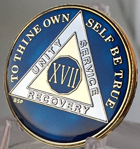 17 Year Midnight Blue AA Alcoholics Anonymous Medallion Chip Tri Plate Gold & Nickel Plated