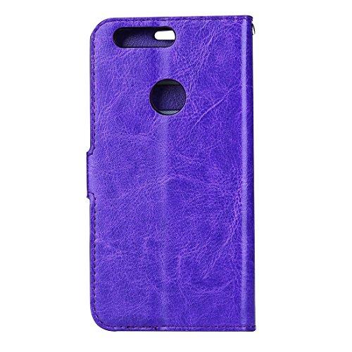 Mobile Phone Cases&decorate Huawei Honor 8 Crazy Horse textura horizontal Flip caja de cuero con hebilla magnética y titular y ranuras para tarjetas y marco de la carpeta y de la foto ( Color : Blue ) Purple