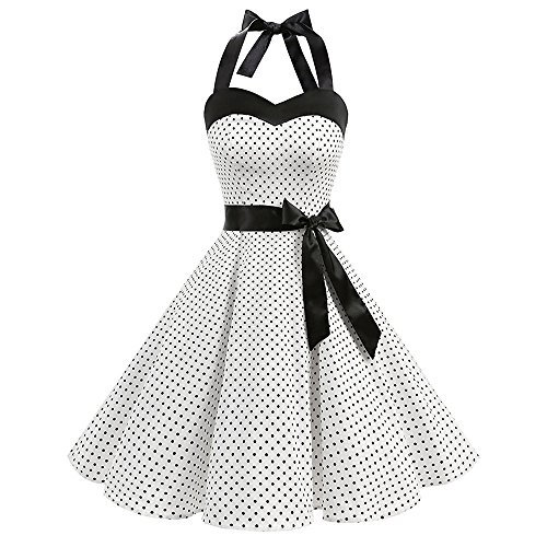 Vintage Dot Printing 1950 Vintage Dresses for Women Sleeveless Bandage Evening Party Swing Dress -