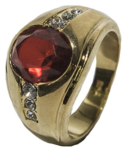 - Men's 18 KT Gold Plated Red Austrian Crystal Dress Ring 030 (10)
