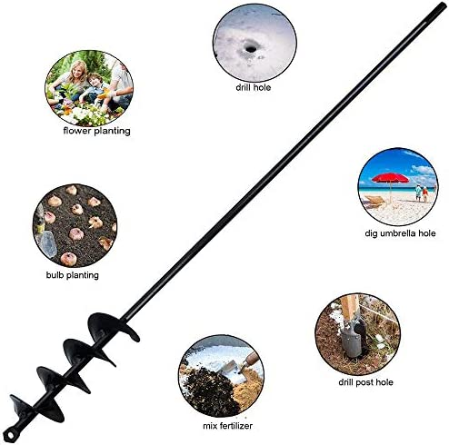 """Auger Drill Bit for Planting 2""""x30"""", Spiral Hole Drill Planter for 3/8"""" Hex Drive Drill for Garden Planting Bulb & Bedding Plant, Hole Digging"""