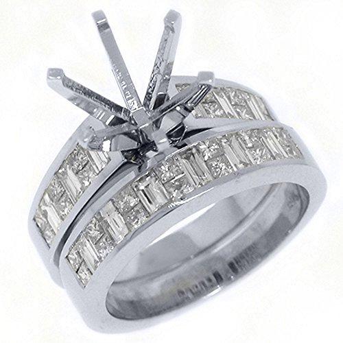 Mount Semi Gold Invisible Set - 18k White Gold Princess & Baguette Diamond Ring Semi-Mount Set 2 Carats