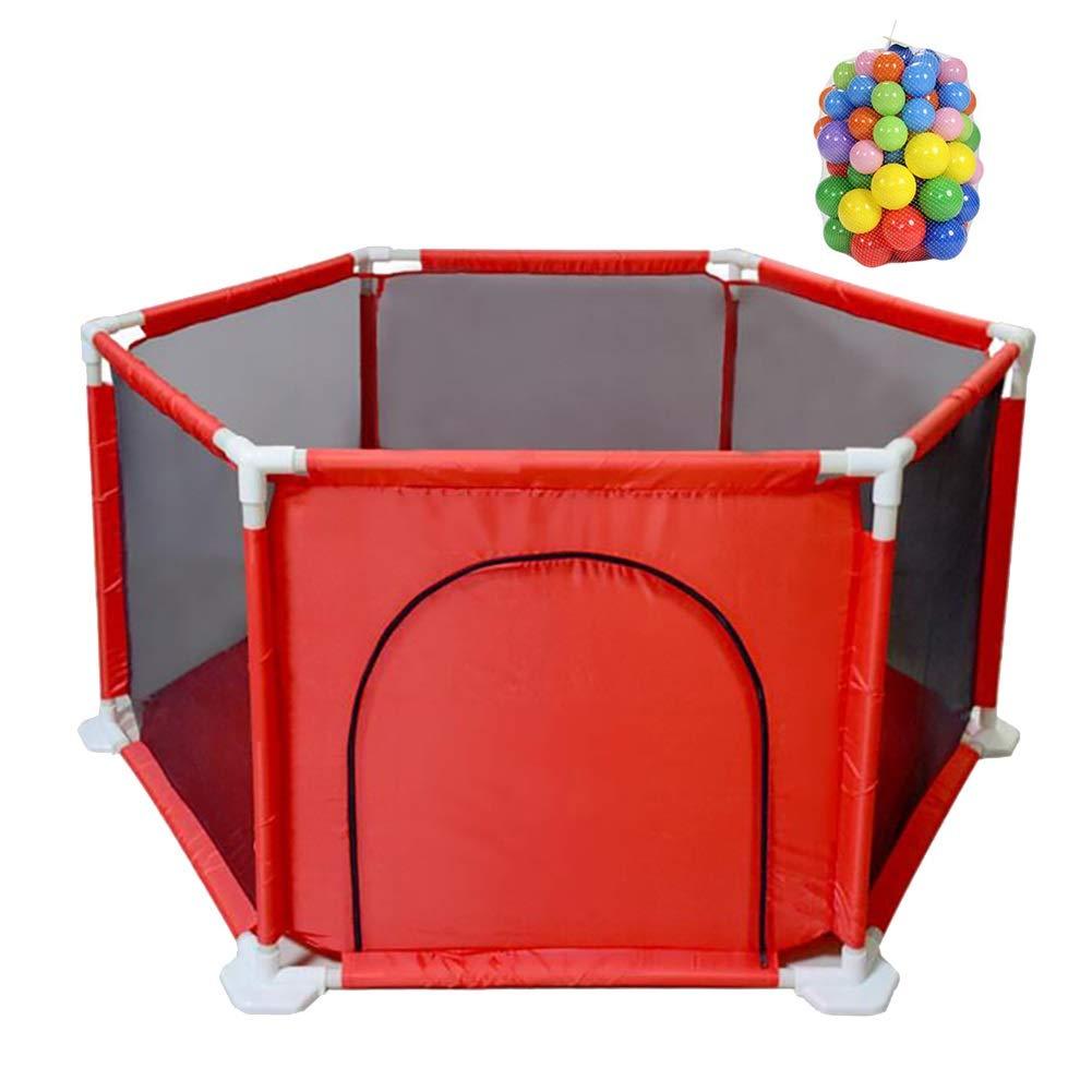 ベビーフェンス 大規模なレッドPlaypen、ポータブル安全な鉛筆六角フェンス、子供の遊びヤードテントインドア (色 : Playpen+With ball+mat)  Playpen+With ball+mat B07KP1LXBH