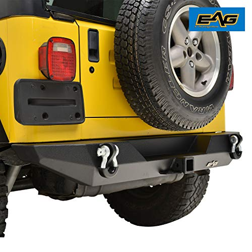 (EAG Rear Bumper with D-ring & Hitch Receiver Fit for 87-06 Jeep Wrangler YJ/TJ)