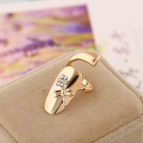 MacTop 1pcs Stylish Dragonfly Flower Shiny Rhinestone Finger Tip Nail Ring Finger Opening Ring Gold