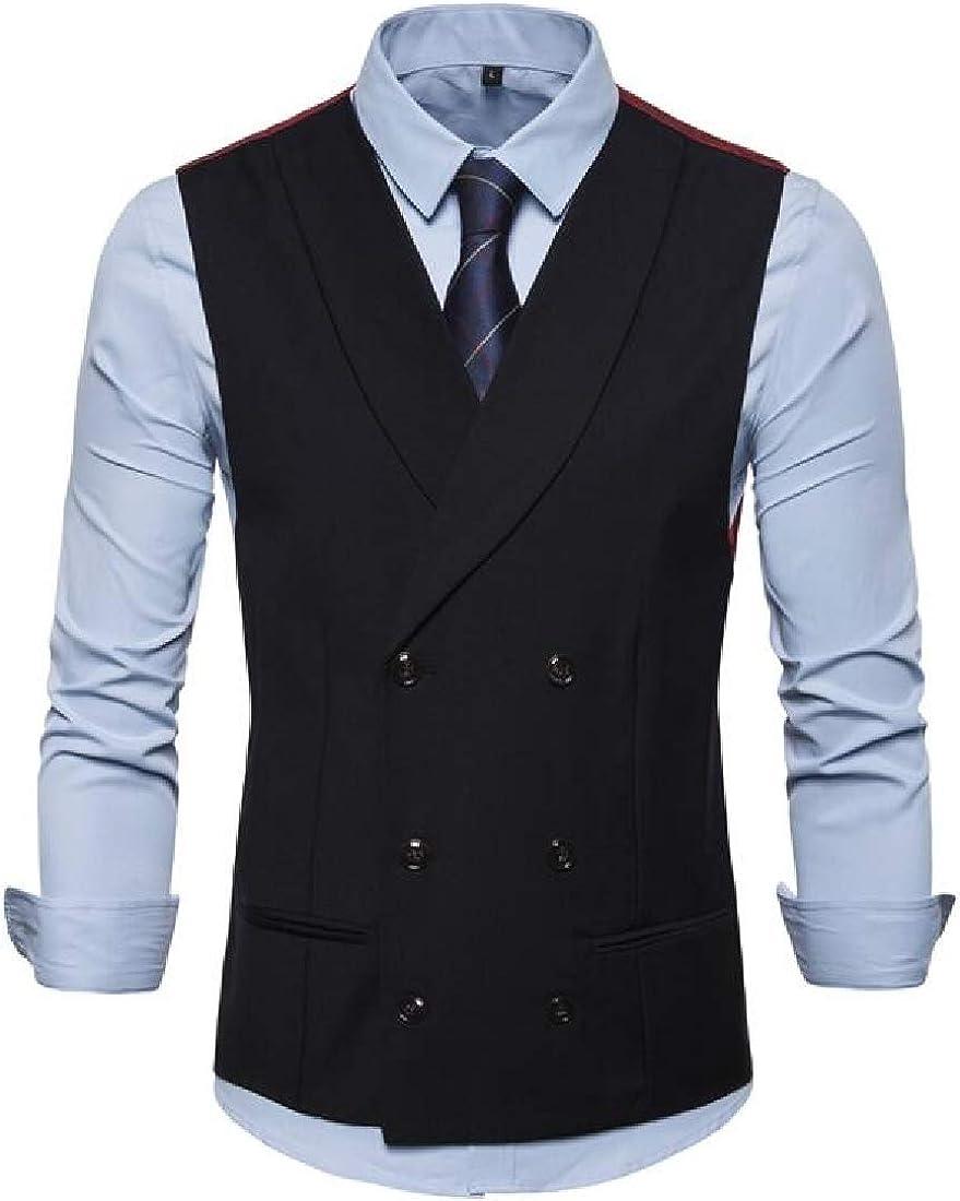 Jotebriyo Men Business Sleeveless Double-Breasted Waistcoat Fashion Dress Vest