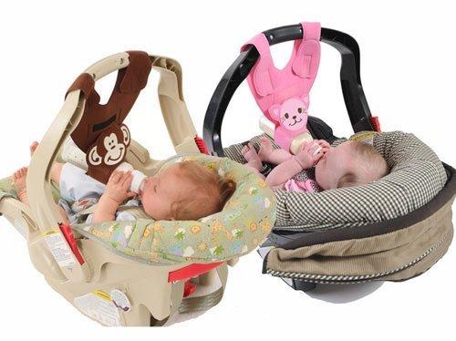 Hands-Free Baby Bottle Holders for Twins (Monkey and Kitten) by Bebe Bottle Sling, LLC