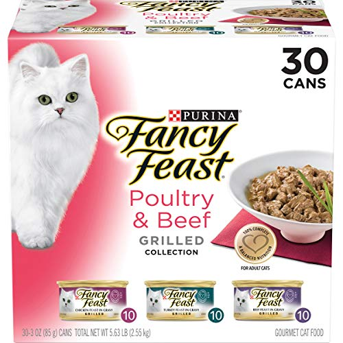 Purina Fancy Feast Gravy Wet Cat Food Variety Pack, Poultry & Beef Grilled Collection – (30) 3 oz. Cans
