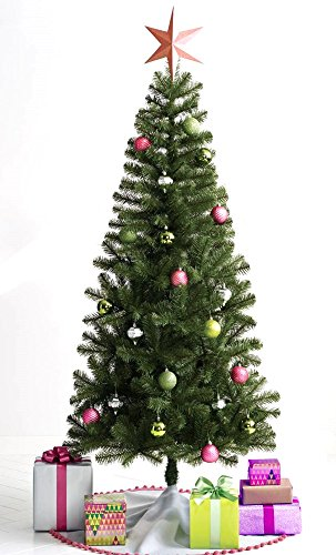 Artificial Evergreen Christmas Tree: Lightweight and Compact, with Hinged Branches [Free Extended Warranty] (6 foot, Unlit)