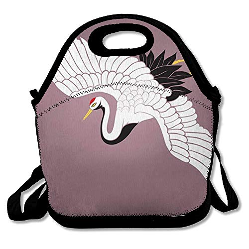 Lunch Bags for Women Men Insulated Red Bird White Crane, used for sale  Delivered anywhere in USA