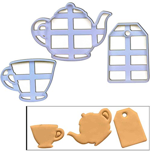 SET of 3 cookie cutters (Teabag, Teacup and Teapot), 3 pcs, Ideal for high tea party (Cutter Teacup Cookie)