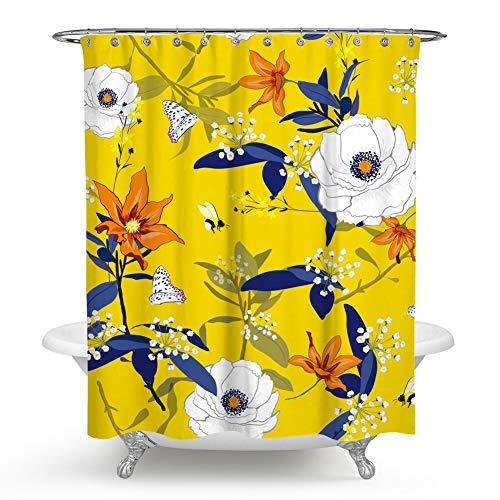 - chengsan Flowers Shower Curtains,Tropical Colorful Flowers Blossom Butterfly Décor Bath Curtain Durable Fabric Bathroom Curtain with Hooks(72x72 inch, 14)