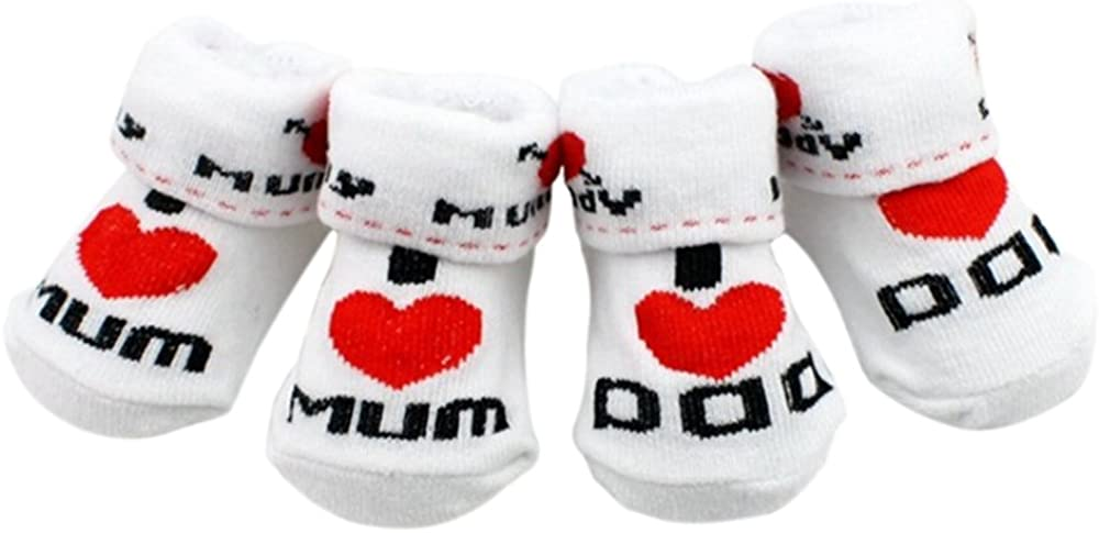 Greenlans Cute Baby Cotton Socks White I Love Mum Dad 0-6 Months Newborn Infant Boys Girls