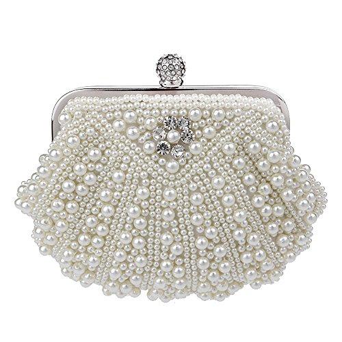 scading Bead Rhinestone Clasp Evening Clutch Evening Bag Wedding Clutches Handle Purse Creamy (Creamy Faux Pearl)